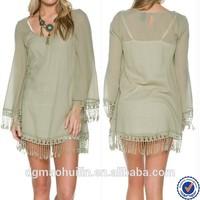 new style women clothing tassel summer dress western beach kaftans tunics muslim tunic dresses