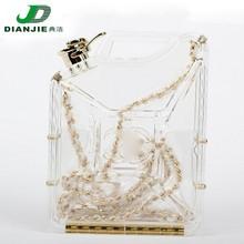 PVC Fashion brand coin transparent handbag with chain
