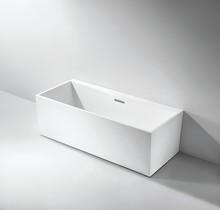 Vertical combo air and hydro-massage stone-like acrylic bathtub