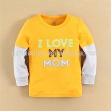 2015 baby clothing 100 cotton baby boy t-shirt long tee plain