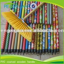 PVC coated wooden broom handle,wooden broom stick with italian thread