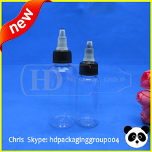 China new design 30ml/1oz cosmetic PET bottles with twist caps long dripper twist cap