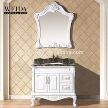 2015 Famous Vanity! Hangzhou White PVC Panel Ceramic Basin Bathroom Cabinet