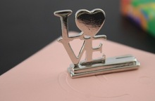Silver LOVE Place Card Holders wedding party giveaway