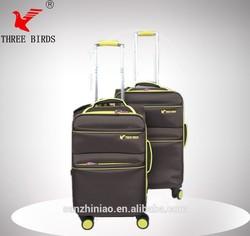 baoding three birds elegant verage nylon trolley luggage set with universal wheel
