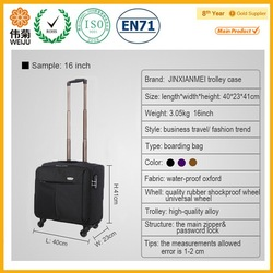 Black high quality waterproof laptop bag with trolley strap