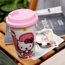 double-wall customized kitty cat porcelain travel gift mug