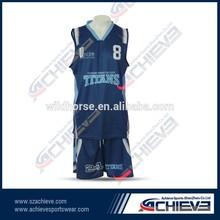 Full sublimation printing color best sample basketball uniform black