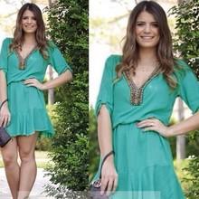 Stylish Lady Women elegant green V-Neck Long Sleeve Elastic Waist Slim Party Casual Above Knee Dresses SV015409