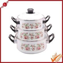 3pcs porcelain enamel cookware with metal handle
