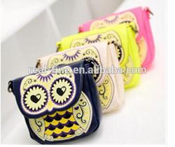 2015 New Arrival 4 Colors Casual Vintage Cartoon Owl Women's Single Shoulder Handbag Portable Small Sling Bag Mini Messenger Bag