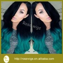 6A Top Fashion Girls Colorful two tone color Hair extensions 1B/Green virgin brazilian hair
