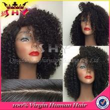 Grade 6A 100% human kinky short hair lace wig silk top curly