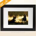 Dos hombres a caballo de la caballos foto para colgar en la pared de pintura al óleo