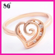 Fashion Rose Gold Thick Plating 925 Silver CZ Heart Ring -Clear Cubic Zirconia Rose Gold Filled Heart Ring