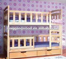 Wood bunk bed with desk/children school furniture child bed