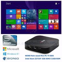 Fanless Mini Computer 2G Ram 32G ROM Intel Atom Z3735F Quad Core Set-Top Android TV Box Baytrail Mini PC Windows8.1 1080P HTPC
