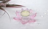 Pink Crystal Lotus Flower Tea Light Holder MH-1788