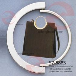 Woman High Class Black Leather Handbag Metal Handle Parts