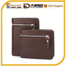 Zipper trimed money clip wallet leather for man