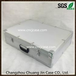 Large silver ABS diamond pattern aluminum flight case with EVA foam insert
