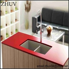 zhuv red and black apartment kitchen cabinet