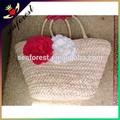 2015 artesanal de palha sacos com flor