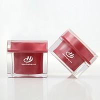 luxury acrylic cream jar15g 30g 50g square shape red cosmetic acrylic cream jars empty