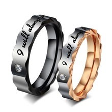 316L Stainless steel Gold/ Black plating Couple ring with diamond