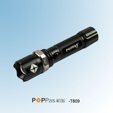 3W Police Use XR-E Q5 Rotary Dimming Aluminum Tactical or Camp Black LED Light using 18650 Battery POPPAS-T809