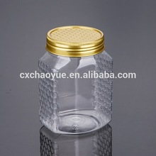 High Quality Clear Square 500G Honey Bottle Food Spice Pet Bottle With Gold Color Aluminum Screw Lid