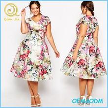 Supply Beautiful floral plunge umbrella style midi party dress v-neckline short sleeve evening dress