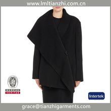 2015 New fashion business big collar wool long womens coat