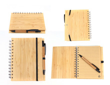 eco hard cover cheap spiral notebook with pen
