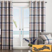 good upholstery 100% polyestere blackout red and blue plaid curtains for decoration