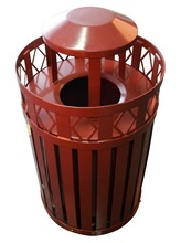 Modern Style Red Metal Mesh Public Dustbin For Sale