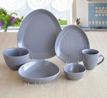 16pcs stoneware oval mat-finished dinner set