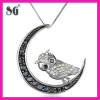 10k White Gold Black-and-White Diamond Owl Pendant Necklace 10 carat gold diamond owl pendant necklace