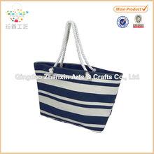 2015 ZHENXIN Strong Canvas Blue White Striped Shopping Beach Storage Bag