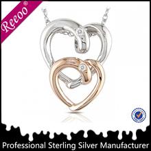 Fashion silver broken heart shaped pendant broken heart chain lovers necklace,metal split heart necklace