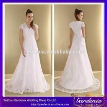 Charming White A-line V-neck Lace Appliqued Zipper Back Floor Length Wedding Dress Lace Casual Dresses Short Sleeve AC080