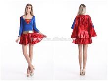 Fancy dress hen party junhou hot sales supergirl party fancy dress wonder women costume halloween costume