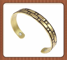 Wholesale Men's Magnetic Copper Golf Bangle Cuff Bracelet Basket Weave Designs