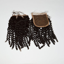 alibaba express Wholesale Top quality stock 4*4 human hair kinky curl lace closure