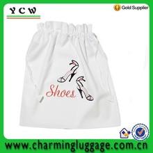 cheaper Wholesale reusable promotional drawstring shoe bag/cotton shoe pouch