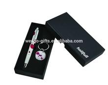 flower design custom logo cheap price pen and keychain gift set