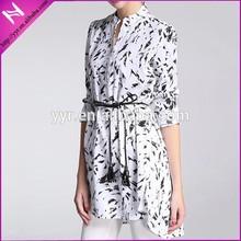 lady's long sleeve stylish belted shirt dress