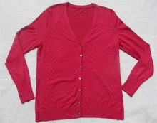 V neck long sleeve basic cardigan lady's garment stock lot