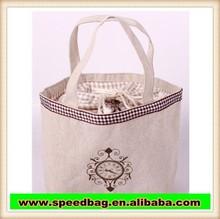 fashion design ladies handbag promotional cheap logo shopping bags drawstring cotton jute shopping hand bag R74