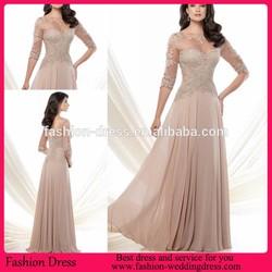 Elegant Half Sleeve Sheer Scoop Neck Lace Applique Mother Of The Bride Dress Chiffon Evening Dress